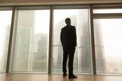Businessman standing near full-length window looking at city, ba stock photo