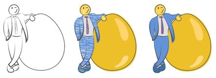 Businessman is standing near large golden egg. Concept for wealth. Natural born leader. Startups and new businesses. Investment an. D retirement. Hand drawn stock illustration