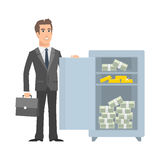 Businessman standing near with open safe and smiling Royalty Free Stock Images
