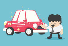 Businessman standing next to new car red Vector illustration Royalty Free Stock Photography