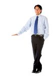 Businessman standing next to something Royalty Free Stock Image