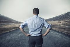 Free Businessman Standing On The Road. Long Way To Go Concept Stock Photography - 112191132