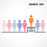Businessman standing out from the crowd. Business  idea and lead Stock Images