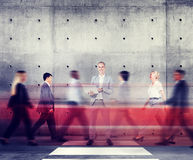 Businessman Standing Out From The Crowd Working Concept Stock Photo