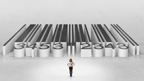 Businessman standing outside of a big codebar stock images