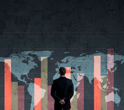 Businessman standing over diagram. World map background. Busines. S, globalization, worldwide concept Stock Photo