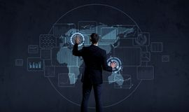 Businessman standing over futuristic map background. Business, t. Echnology, future, globalization concept Stock Image
