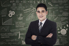 Businessman standing over success formula Stock Photography