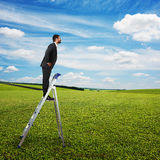 Businessman standing on the pair of steps Royalty Free Stock Image