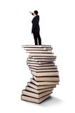 Businessman standing on a pile of books Stock Image