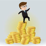 Businessman standing on a pile of gold coins. Businessman Cartoon character,  illustration Business Concept Stock Photography