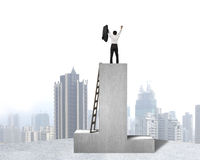 Businessman standing on podium with wooden ladder and city view Royalty Free Stock Images