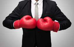 Businessman standing posture in boxing gloves isolated Stock Photos