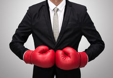 Businessman standing posture in boxing gloves isolated Royalty Free Stock Photography