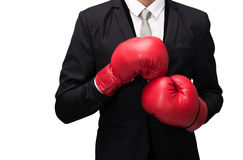 Businessman standing posture in boxing gloves isolated Royalty Free Stock Images
