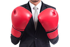 Businessman standing posture with boxing gloves Stock Photos