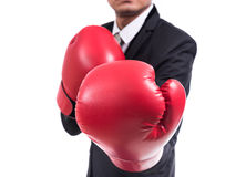 Businessman standing posture with boxing gloves Royalty Free Stock Photo