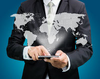 Businessman standing posture hand hold mobile phone Global Marke Royalty Free Stock Photo