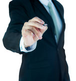 Businessman standing posture hand hold a pen isolated Stock Photography