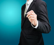 Businessman standing posture hand hold a pen  Stock Photo