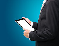 Businessman standing posture hand holding blank tablet isolated Stock Photos