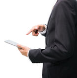Businessman standing posture hand holding blank tablet Royalty Free Stock Images