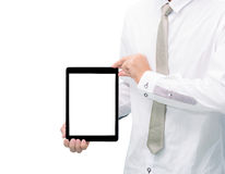 Businessman standing posture hand holding blank tablet. Isolated on over white background Stock Photos