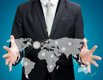 Businessman standing posture hand holding Earth icon isolated Royalty Free Stock Images