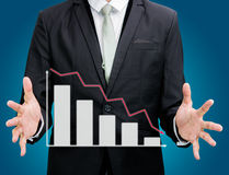 Businessman standing posture hand holding graph finance isolated Royalty Free Stock Photo