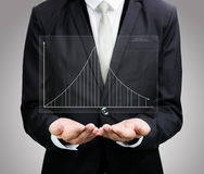 Businessman standing posture hand holding graph finance isolated Royalty Free Stock Photos