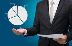 Businessman standing posture hand holding graph finance  Stock Photos