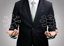Businessman standing posture hand holding strategy flowchart iso Royalty Free Stock Images