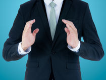 Businessman standing posture show hand isolated Stock Photos