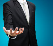 Businessman standing posture show hand isolated Royalty Free Stock Photography