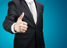 Businessman standing posture show hand isolated Royalty Free Stock Photo
