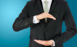 Businessman standing posture show hand isolated Stock Photography