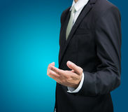 Businessman standing posture show hand isolated Stock Image
