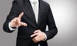 Businessman standing posture show hand isolated Royalty Free Stock Images