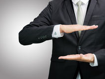 Businessman standing posture show hand isolated Stock Photo