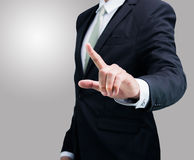 Businessman standing posture show hand isolated Royalty Free Stock Photos