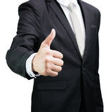 Businessman standing posture show hand isolated Royalty Free Stock Image