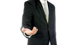Businessman standing posture show hand isolated Stock Images