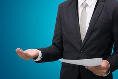 Businessman standing posture show hand  Stock Photo