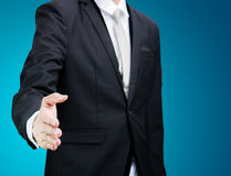 Businessman standing posture show hand  Royalty Free Stock Image
