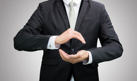 Businessman standing posture show hand  Royalty Free Stock Photography