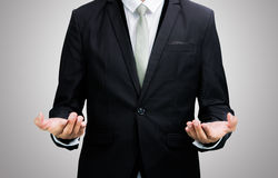 Businessman standing posture show hand  Stock Photos