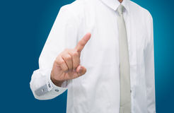 Businessman standing posture touch hand isolated Stock Photo