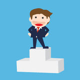 Businessman Standing  on the Prize podium, Vector  cartoon.  Stock Image