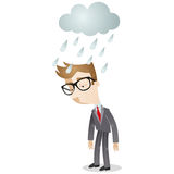 Businessman standing in the rain. Vector illustration of a sad looking cartoon businessman standing in the rain under a cloud Royalty Free Stock Image
