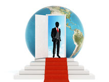 Businessman standing on the red carpet leading to the open door. 3D illustration Stock Photos